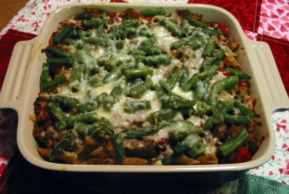 Baked Ziti w/ Beef & Green Beans