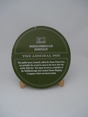 Photo of The Admiral, Middlesbrough and Middlesbrough and London Steam Shipping Company green plaque