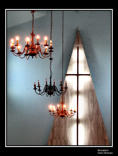blue light church lamp triangle shrine catholic shadows cross venezuela spiderweb chandelier marble miranda guatire platinumphoto anawesomeshot bonsailara1