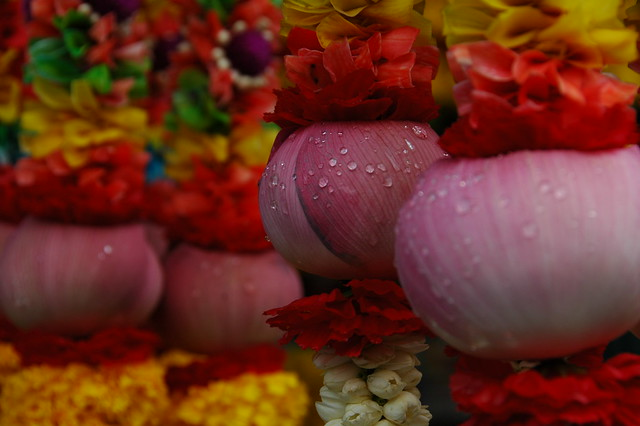 Flower Offerings at Hindu Temple - Bangkok, Thailand