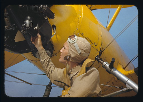 Marine lieutenant by the power towing plane for the gliders at Parris Island, S.C.  (LOC)