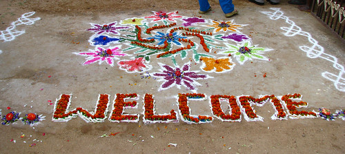 India - Sights & Culture - 027 - Chalk & flower welcome drawings