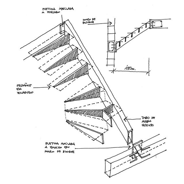 Estudio detalle constructivo de escalera para vivienda uni for Escaleras de viviendas
