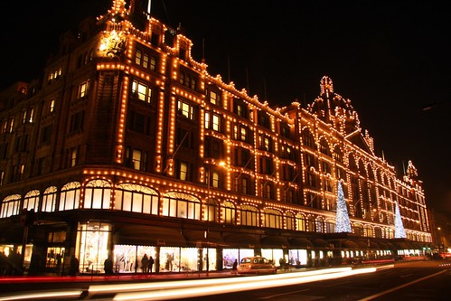 Harrods with christmas decoration, London UK