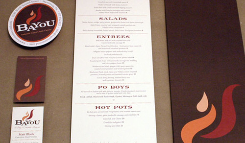 Bayou Menu, Business Card and Sticker Branding Design