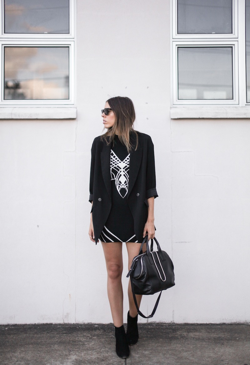 modern legacy fashion blog australia street style blessed are the meek architect funnel neck dress zara boyfriend blazer tony bianco ankle boots alexander wang chastity chain bag all black monochrome (3 of 6)