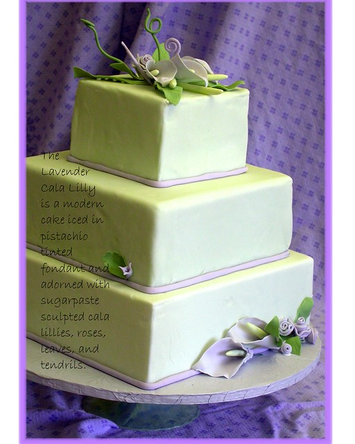 calla lilly wedding cake Fondant covered wedding cake with square tiers