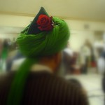 green turban and rose