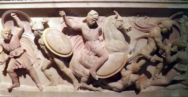 Alexander Sarcophagus, Short Side A, Istanbul Archaeology Museum