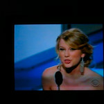 Taylor Swift accepting the award for Best New Artist