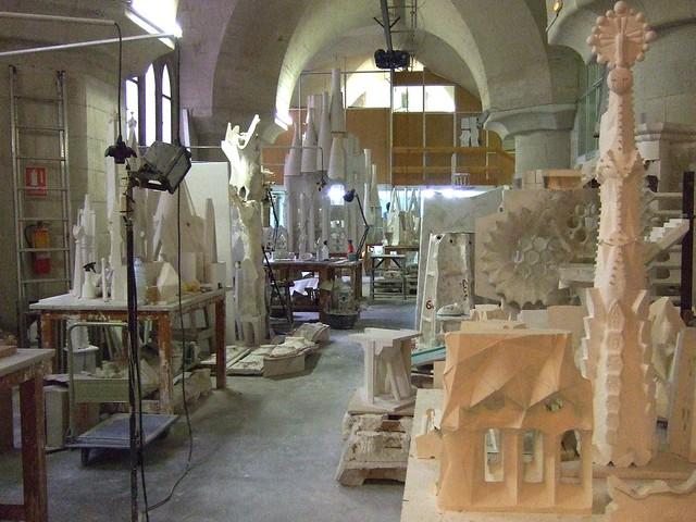 la sagrada fam lia models in the basement of la sagrada