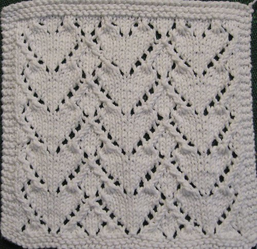 White Heart Lace Washcloth