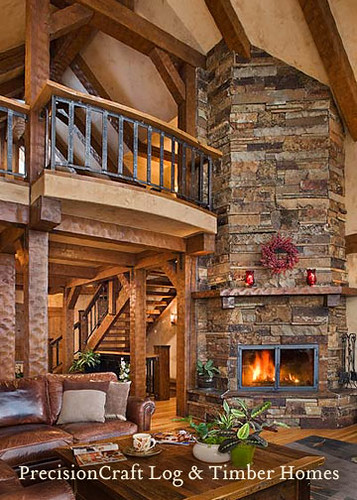 Great Room of a Custom Timber Frame Home | by PrecisionCraft Log & Timber Homes