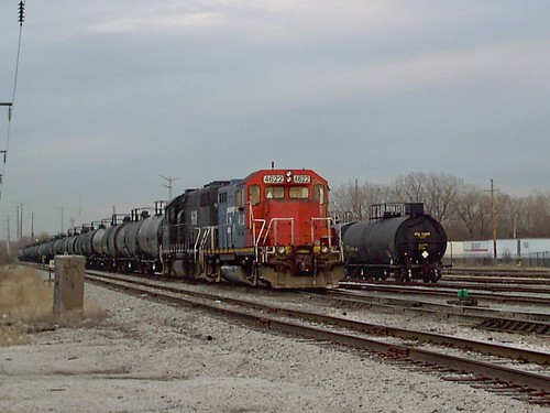 Canadian National yard switching activity with fallen flag predecessor railroad locomotives. Crawford Yard. Chicago Illinois. April 2007. by Eddie from Chicago