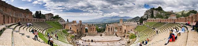 Sicily Taormina Greek Theater - High Resolution Panorama (Creative Commons)