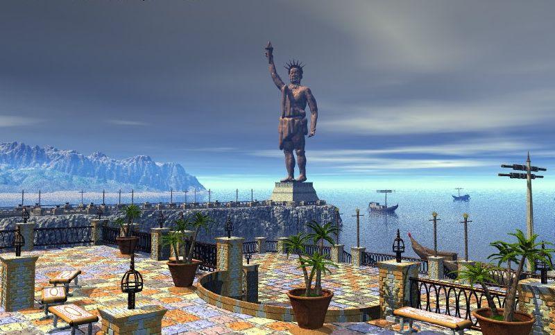 Estátua do Deus Hélio na Ilha de Rhodes atual Turquia.