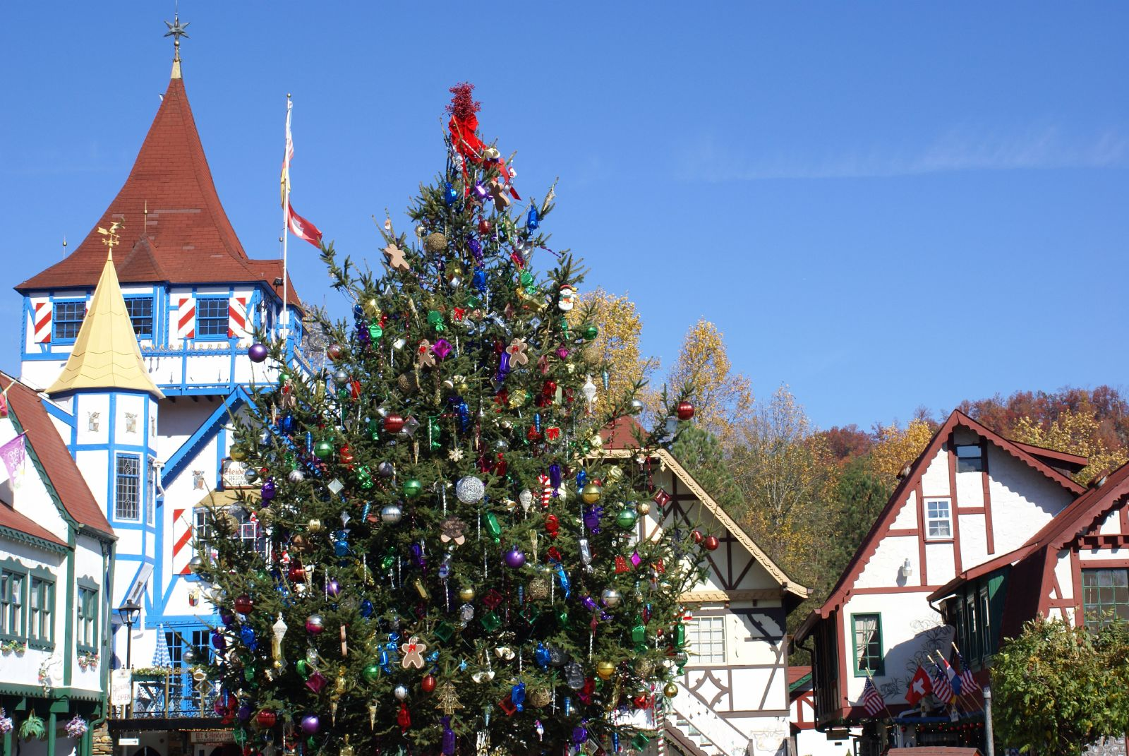 Town Square Christmas Tree In Helen, GA.