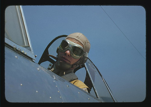 Marine lieutenant, glider pilot in training, ready for take-off, at Page Field, Parris Island, S.C.  (LOC)