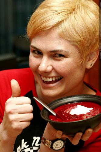 thumbs up on the beet borscht    MG 9222
