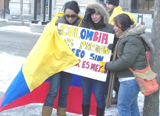 Girls wrapped in Colombian flag