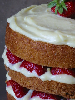 Orange Layer Cake with Strawberries & Amaretto Pastry Cream 2