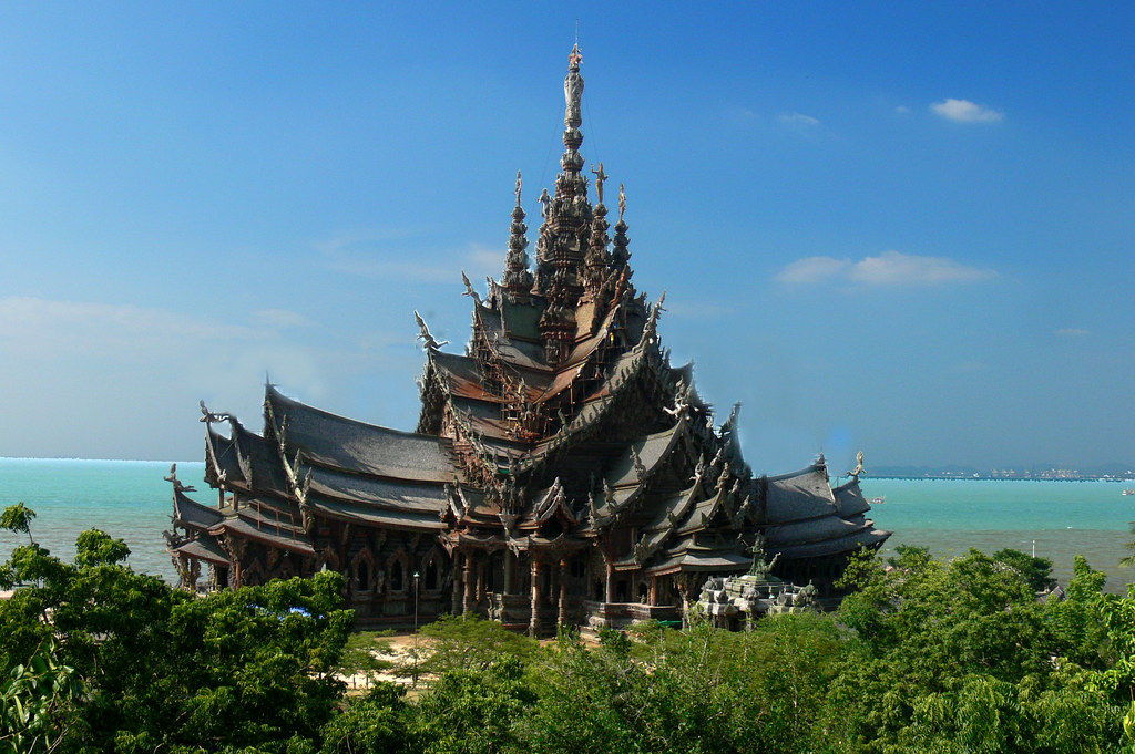 New buildings built in traditional architecture style for Thailand architecture