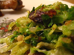 shredded brussel sprouts with dates, pine nuts, shallot