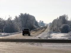 Truck on gravel road