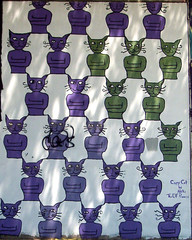 Purple and Green cats full mural