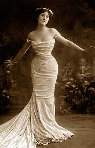 vintage girl in white dress
