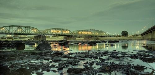 bridge reflection river newjersey nightshot fiume ponte pa delaware trenton sigma1020 nikond80 fedesk8