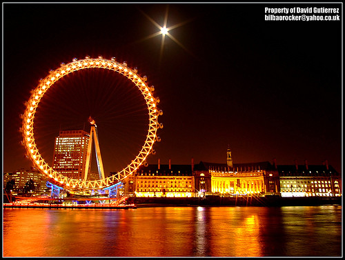 London Eye under the Moon Light at Night