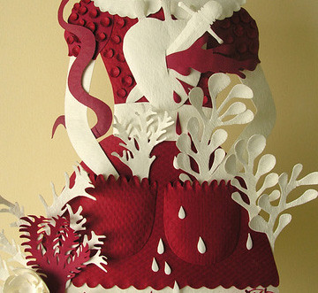 Paper Sculpture (red and white, detail)