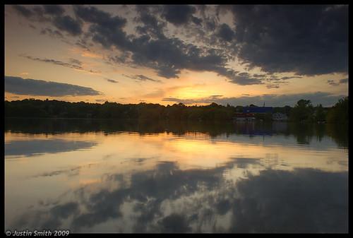 sunset reflection nikond50 symmetry bostonma justinsmith spypond nikon1735mmf28 eastarlingtonma