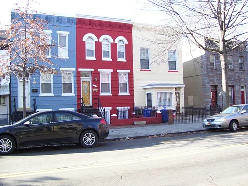 Blue, Red, Cream houses