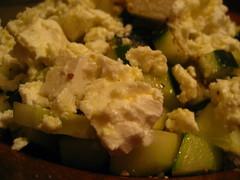 cruciferous vegetables(0.0), produce(0.0), potato salad(0.0), breakfast(1.0), vegetable(1.0), side dish(1.0), vegetarian food(1.0), food(1.0), dish(1.0), scrambled eggs(1.0), stuffing(1.0), cuisine(1.0),