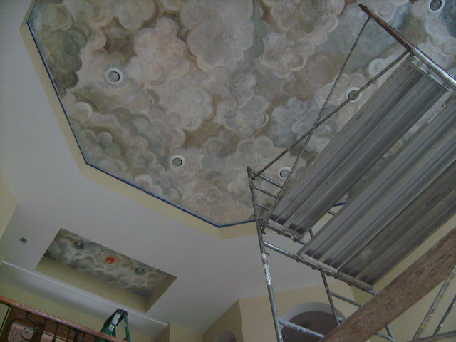 Ceiling cloud mural ceiling systems for Ceiling cloud mural