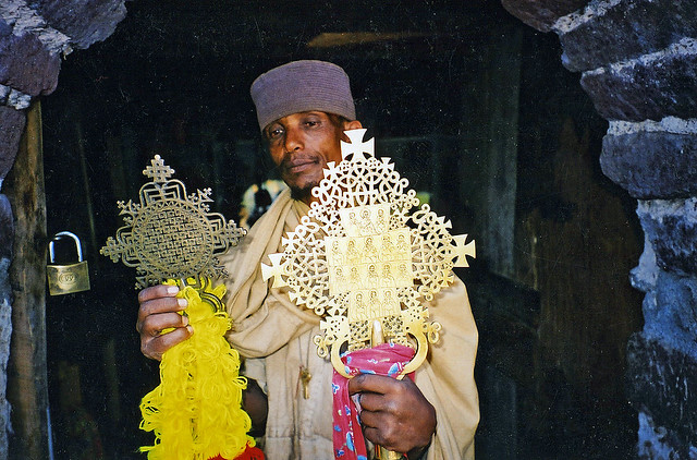 Abbot with crosses, Ethiopian Orthadox monistary, Lake Tana, Ethiopia