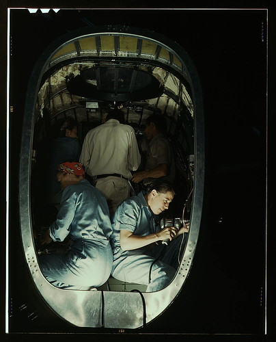 Working inside fuselage of a Liberator Bomber, Consolidated Aircraft Corp., Fort Worth, Texas (LOC)