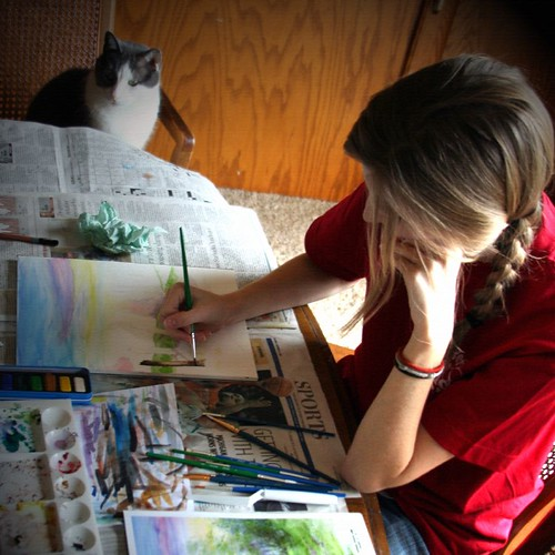Maria Painting with Cat
