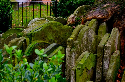 Gravestones in yard of St. Pancras Church