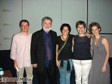 Niles Eldredge com membros da Roda de Ciência: João Alexandrino, Lucia Malla, Sílvia e Maria Guimarães
