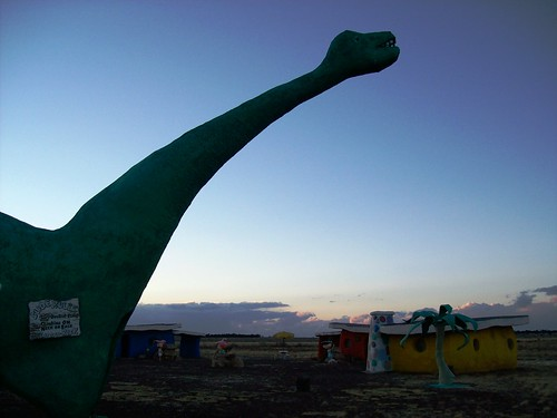 Dinosaur in the waning sunlight at Bedrock City, AZ - bedrock20x