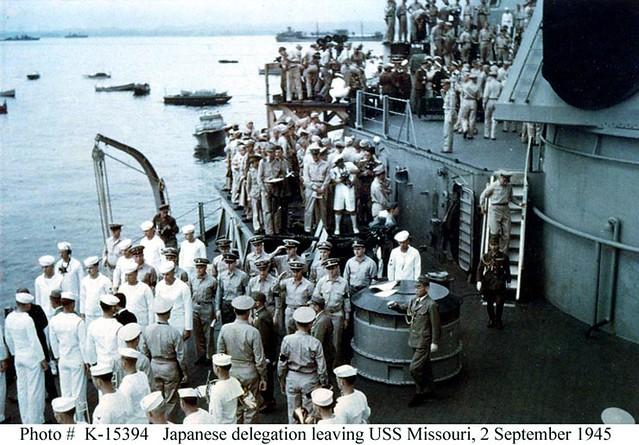 surrender_25 The Japanese delegation departs the USS Missouri BB-63 following the surrender ceremony