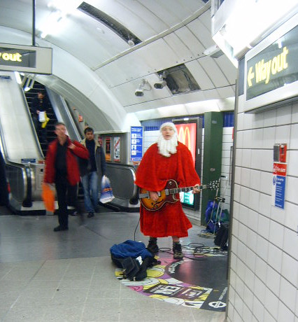 First busking Santa of Xmas