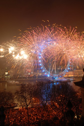 The enthralling fireworks in the centre of London at New Year.