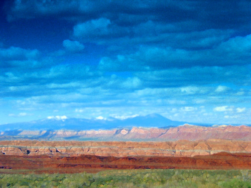 Painting Blue Mountain, Southeastern Utah, USA