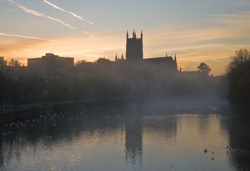 city morning autumn light shadow mist tower silhouette fog sunrise river geotagged dawn cathedral quay severn worcestershire worcester blueribbonwinner platinumphoto flickrdiamond geo:lat=52191164 geo:lon=2225804
