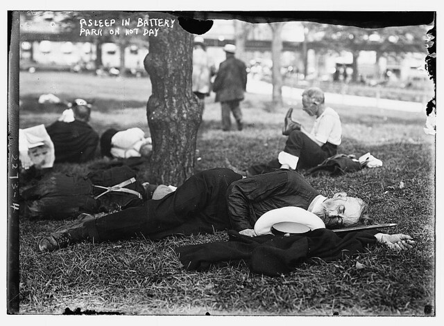 Asleep in Battery Park on hot day  (LOC)