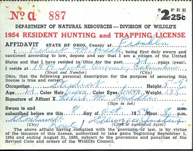 1952 ohio resident hunting license and back tag front for Michigan non resident fishing license